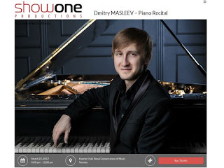 Show One Productions present: Dmitry Masleev - Piano Recital,  Koerner Hall, Royal Conservatory of Music, Toronto, March 22, 2017