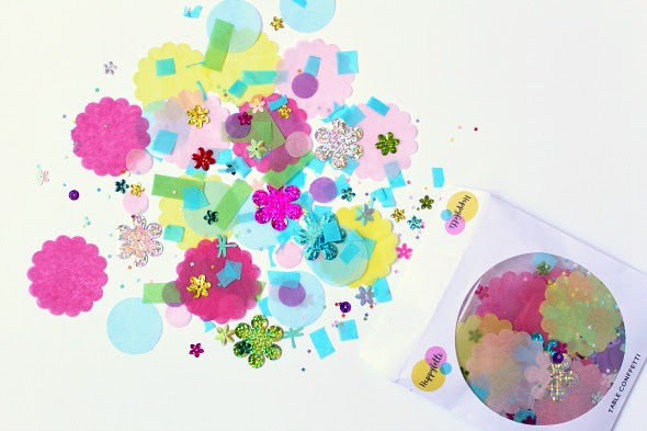 image of deluxe hand mixed table confetti with flower sequins tissue paper happyfetti