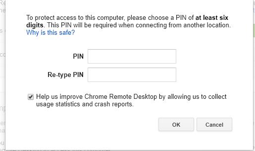 Prepare Chrome Remote Desktop for a remote connection