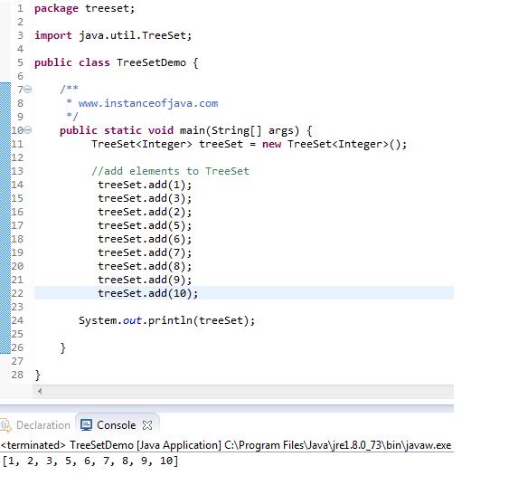 treeset add elements in java example program