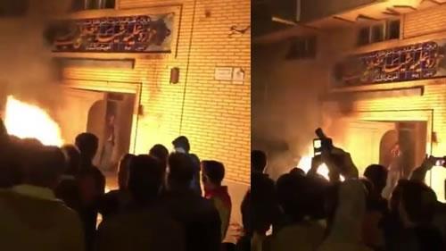 إضرام النار في حوزة«مصطفى خميني» العلمية – 2يناير2018