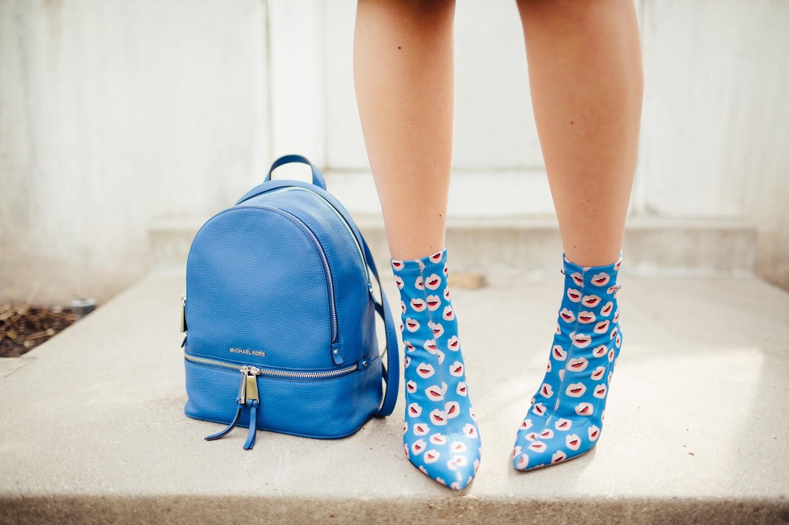 Blue Lip Print Boots, Royal Blue, Michael Kors Backback