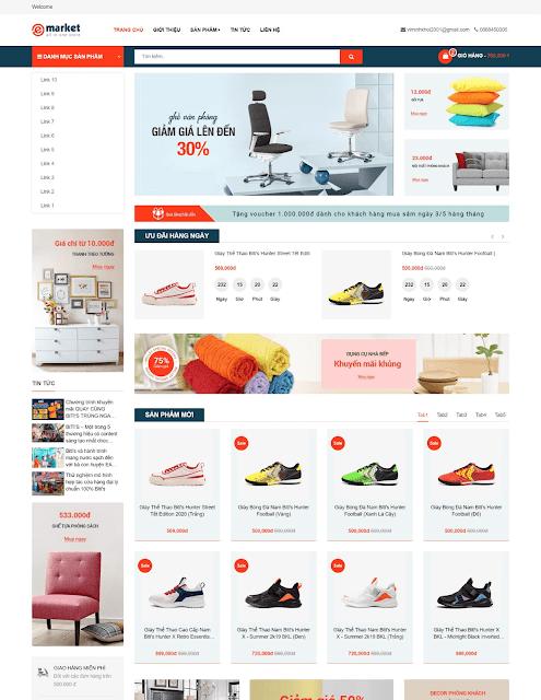 Template blogspot bán hàng Emarket