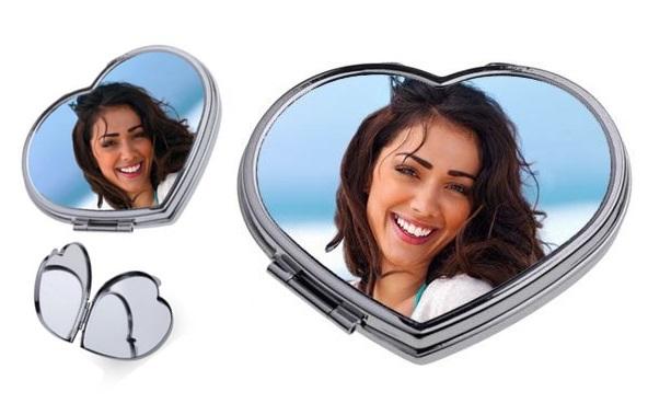 kişiye özel fotoğraf baskılı kalp ayna