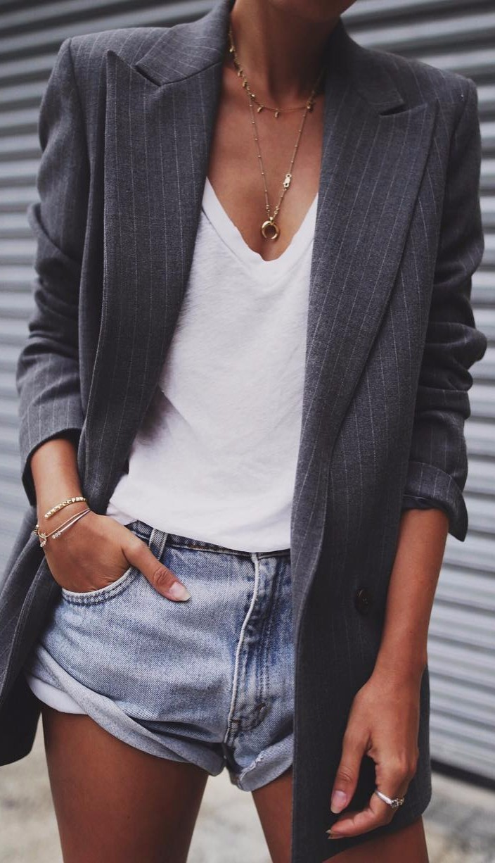 classy & casual | white tee + long blazer + denim shorts