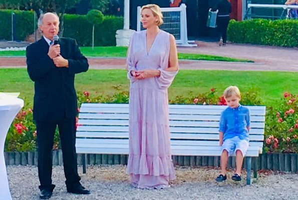 Princess Charlene of Monaco attended the Charity Race's gala dinner with her son, Crown Prince Jacques