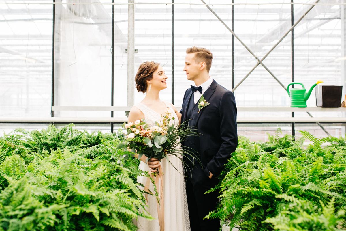Sesja ślubna z motywem paproci