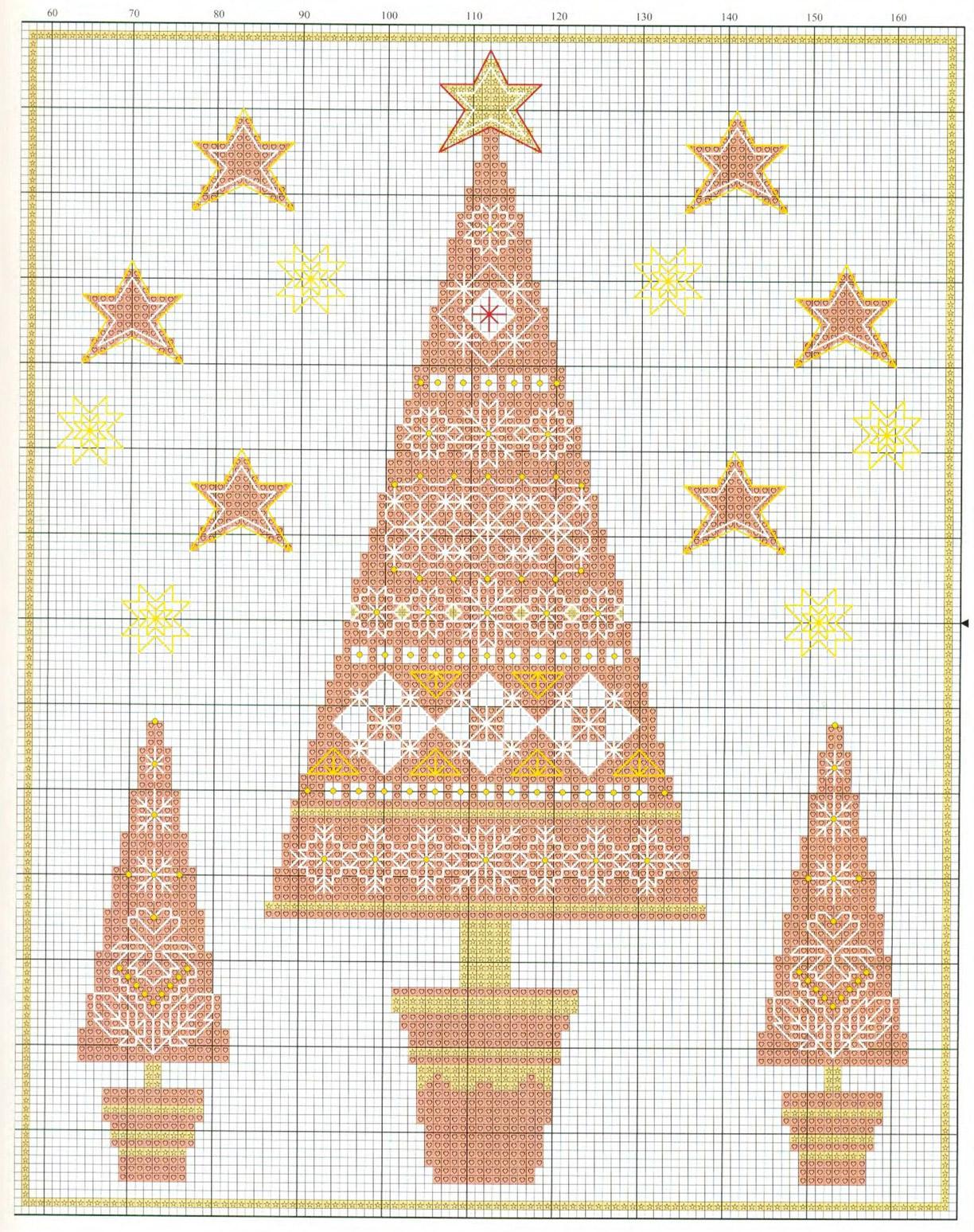 Вышитые новогодние елочки.  Embroidered Christmas trees
