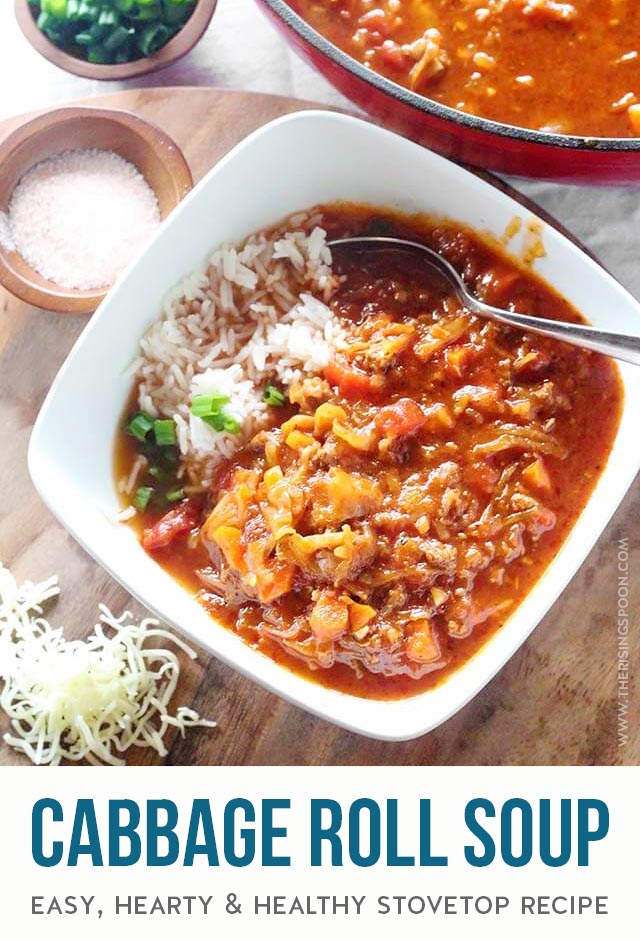 An easy, one-pot recipe for Cabbage Roll Soup that you can prep in about 20 minutes then simmer for an hour or more on the stovetop. The end result is a rich, yet healthy soup packed with tomato, beef & veggie flavors similar to stuffed cabbage rolls but without all the work. Ladle it into bowls with cooked white rice or cauliflower rice for a hearty meal that will warm your belly! (Gluten-Free with Paleo & Low-Carb option)