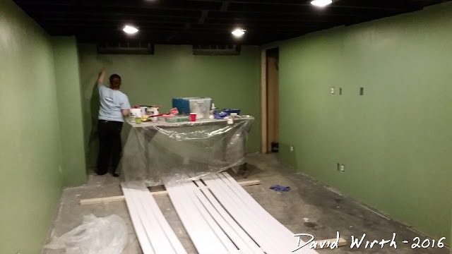 paint basement walls, remodel, baseboard, crown molding, finished basement cost
