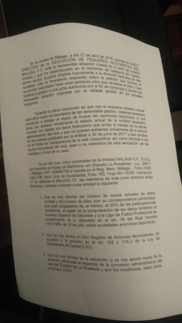 Málaga, comunicado de los pequeños accionistas íntegro