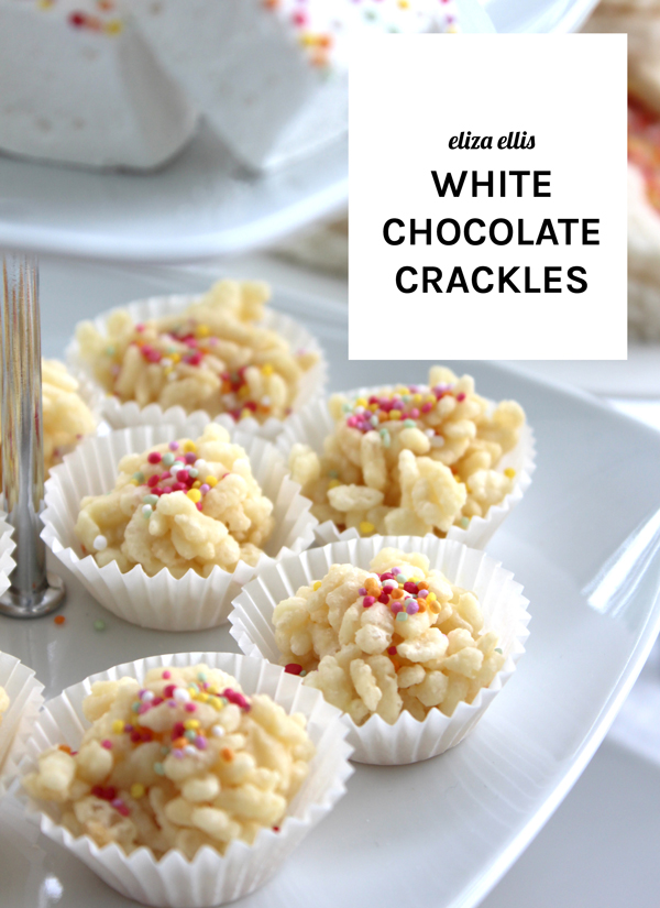 White Chocolate Crackles - Last Minute Sprinkles Party by Eliza Ellis