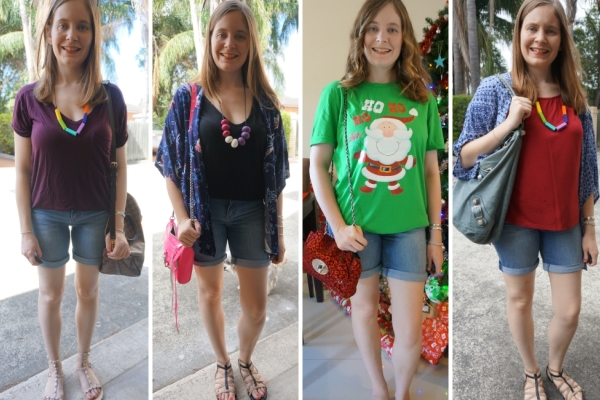 4 Ways To Wear Bermuda Denim Shorts With Tees | awayfromblue