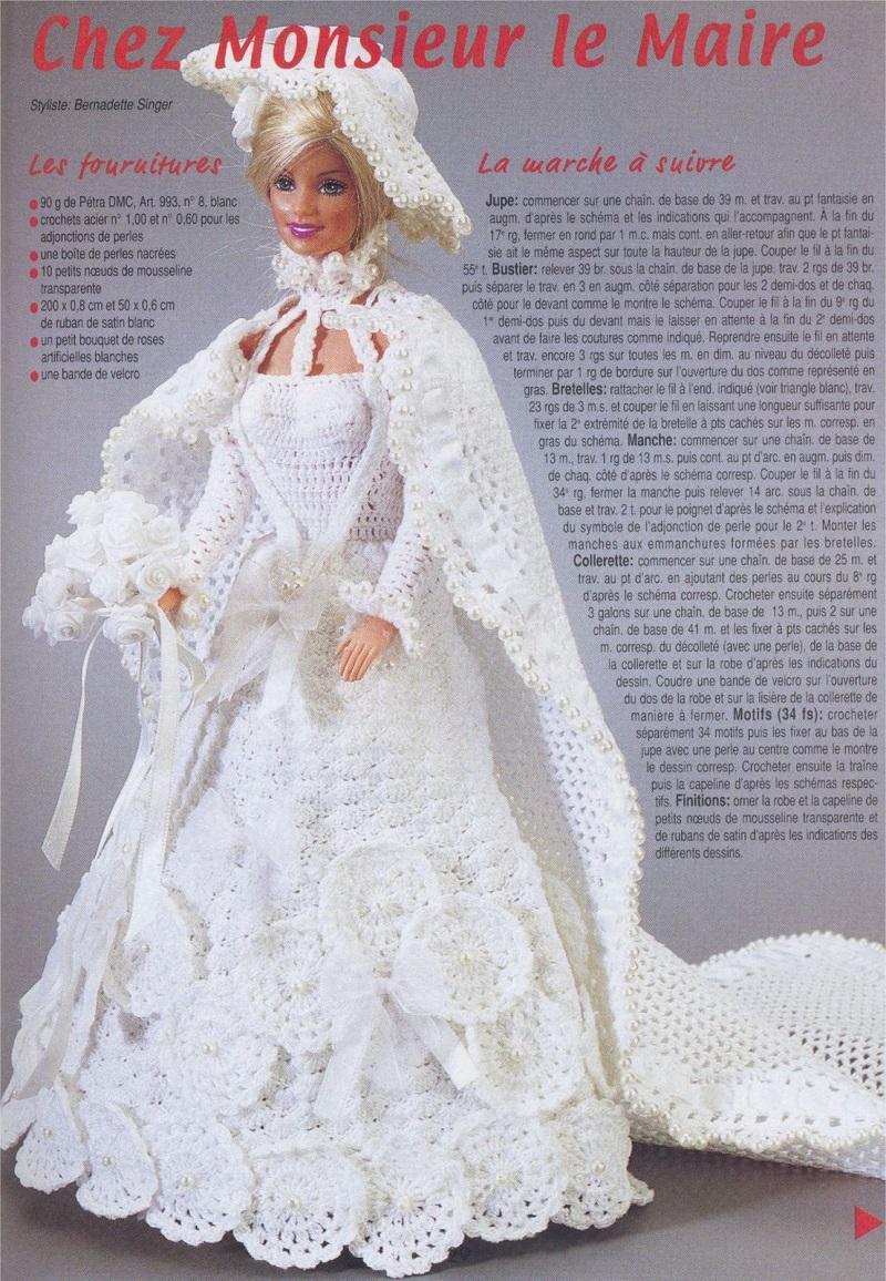 Vestido de Noiva Para Barbie Em Crochê com gráfico