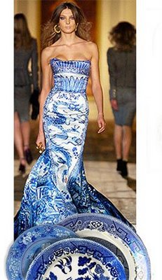 I Found The Most Unusual Use Of Pattern On A Blog Called Pigtown Design Imagine Having Blue Willow Ballgown