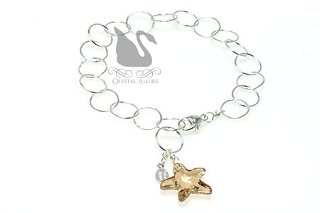 Floating Circles Golden Crystal Starfish Charm Bracelet (B178)