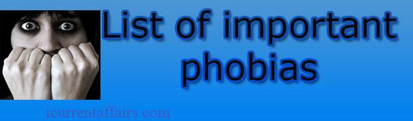 List of Important phobias