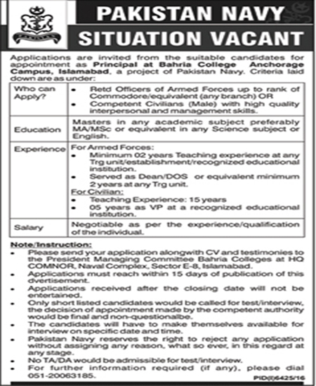 Jobs in Pakistan Navy / Bahria College Anchorage Campus  May 2017