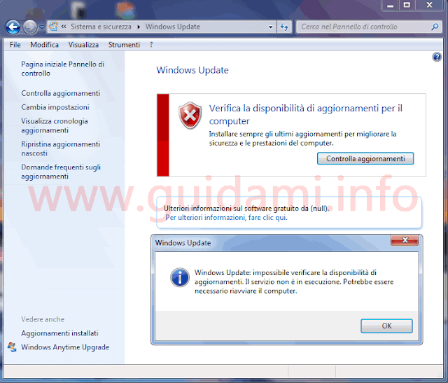Windows Update Windows 7 impossibile verificare disponibilità aggiornamenti