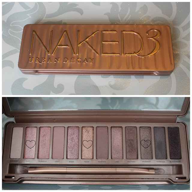 photo of the shadows inside the Urban Decay Naked 3 Palette