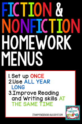 Need ideas to spice up your nightly reading homework? These fiction and nonfiction menus are a great way to reinforce your literacy lessons at home. Easy to prep- all you need is a folder or notebook for each child and you are ready to get started! These are great for use in classroom centers as well. Includes examples for each activity and a rubric!
