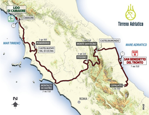 Tirreno Adriatico route map 2016