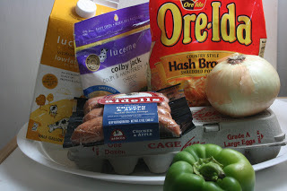 these are the ingredients you need to make overnight crockpot slow cooker hashbrown breakfast casserole