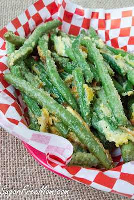 Oven-Fried Garlic Parmesan Green Beans from Sugar-Free Mom featured in The BEST Low-Carb and Gluten-Free Thanksgiving Side Dishes on KalynsKitchen.com