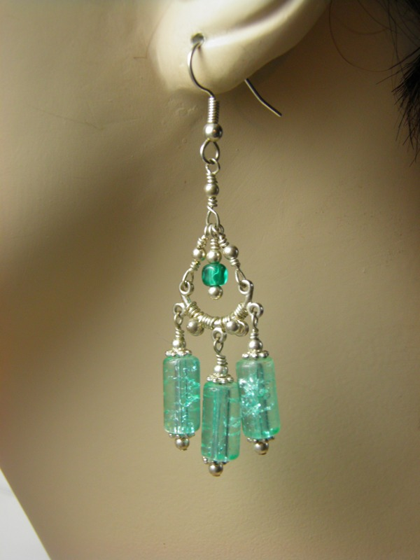 First Up Is A Brand New Light Teal Le Glass And Sterling Silver Wire Wred Chandelier Earrings