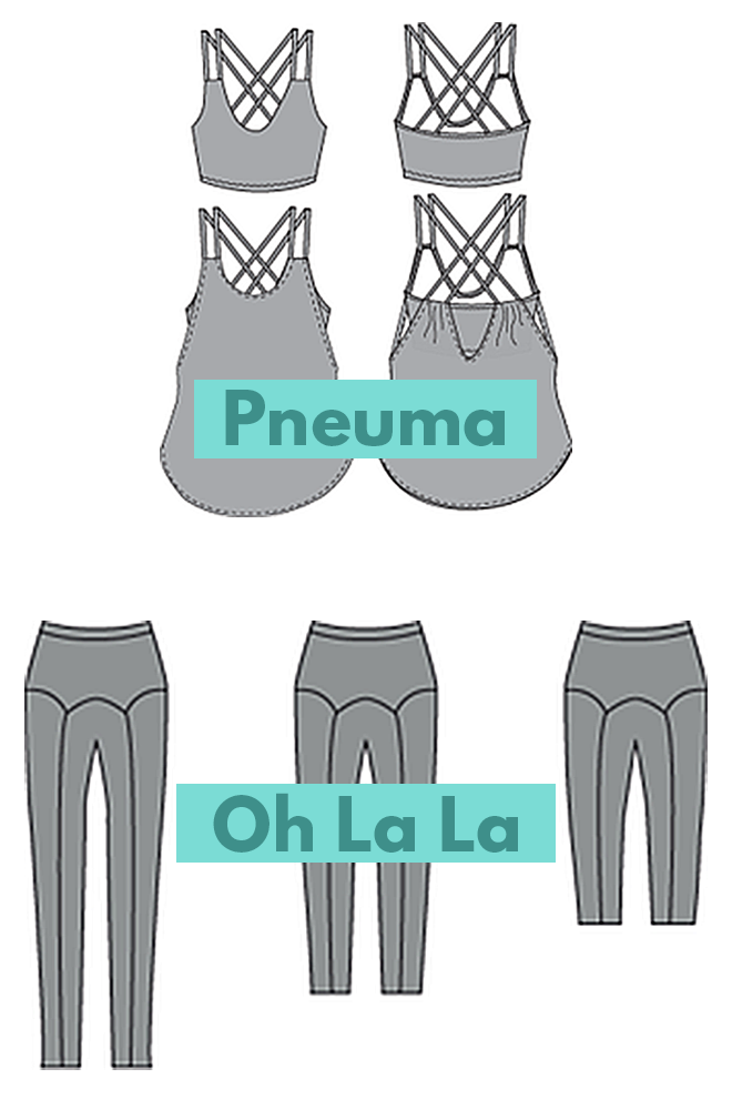 Papercut Patterns' Pneuma bra/tank top and Oh La La leggings are stylish sewing patterns for yoga clothes.