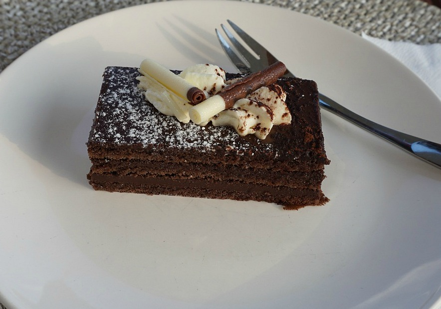 Layered dark chocolate cake