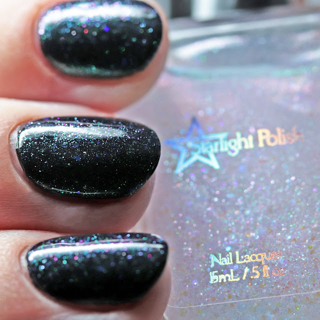 Starlight Polish I'm a Witch Every Day over Nail Hoot Indie Lacquers Basic Black