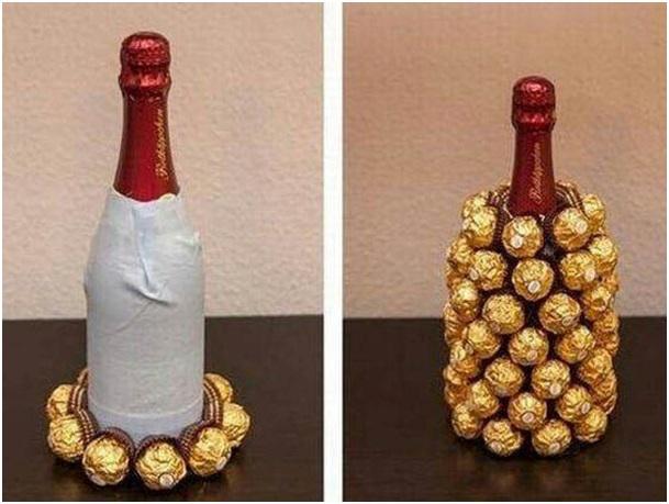 İçki şişesi çikolatalı