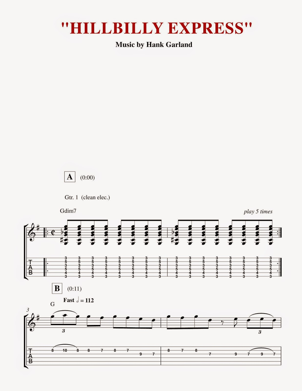 Custom Guitar Transcriptions The Best Of Hank Garland