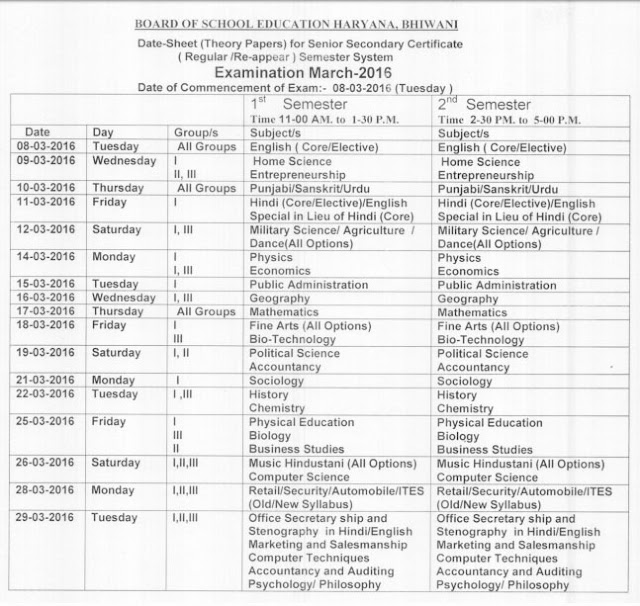 Haryana 12th 1st/2nd Semester  Exam Time Table 2016