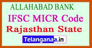 ALLAHABAD BANK IFSC MICR Code Rajasthan State