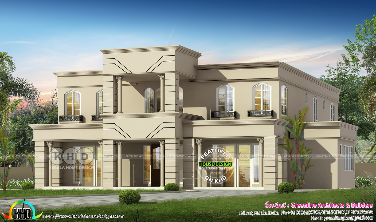Flat Roof Colonial House Plan With 5 Bedroom Kerala Home Design And Floor Plans 8000 Houses