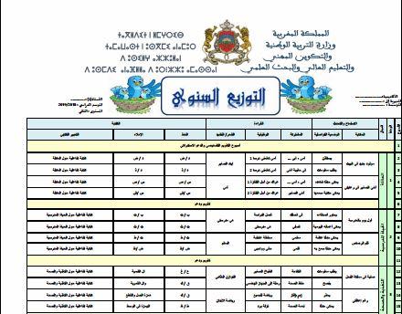 التوزيع السنوي اللغة العربية مرجع كتابي المستوى الثاني  2018-2019