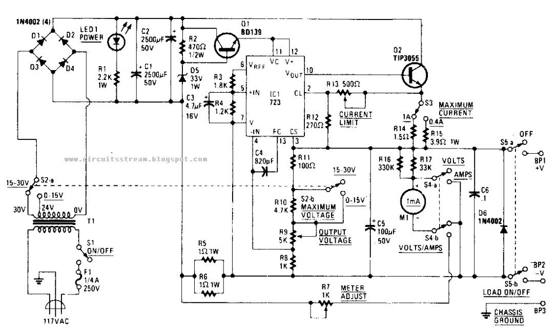 top bench power supply circuit diagram electronictheory