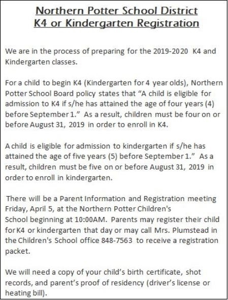4-5 Northern Potter Kindergarten Registration
