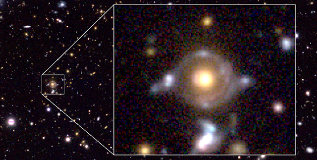 Eye of Horus in pseudo color. Enlarged image to the right (field of view of 23 arcseconds x 19 arcseconds) show two arcs/rings with different colors. The inner arc has a reddish hue, while the outer arc has a blue tint. There are also the lensed images of the background galaxies which are originally the same galaxies as the inner and the outer arcs. The yellow-ish object at the center is a massive galaxy at z = 0.79 (distance 7 billion light years), which bends the light from the two background galaxies. (Credit: NAOJ)