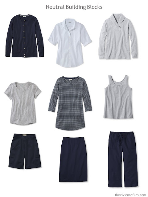 nine wardrobe Neutral Building Blocks in navy, grey and white for warm weather