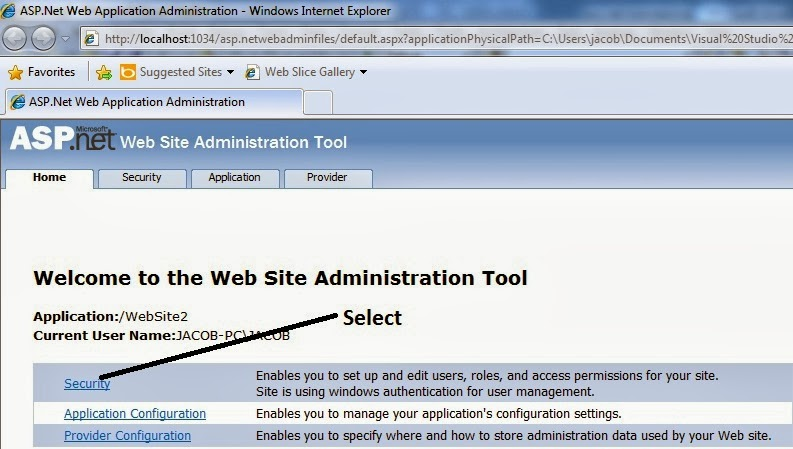 Select Security link which is given in the administrative page