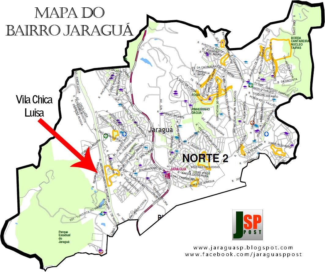 Posição da Vila Chica Luisa dentro do bairro Jaraguá