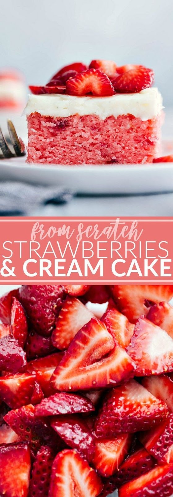 Strawberries and Cream Cake #desserrt #valentine #strawberries #cream #cake