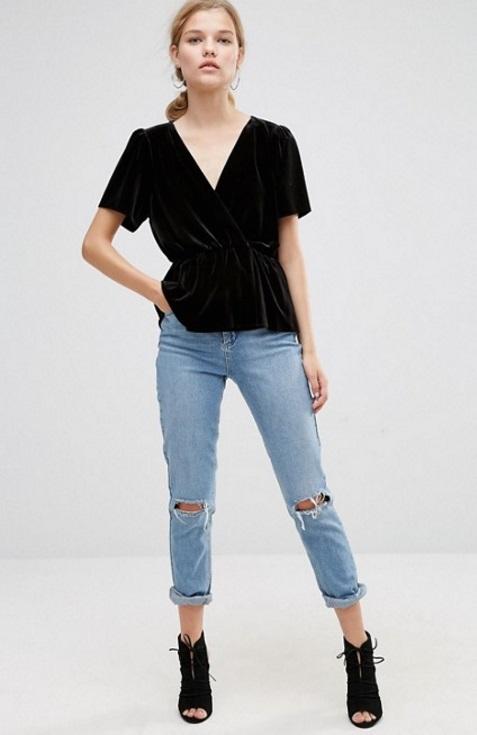 blusa terciopelo negro