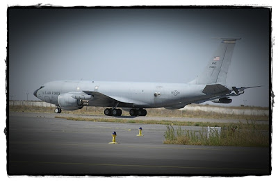 A KC-135 taxiing at the Manas airfield.