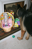Our German Shepherd sniffing the Easter Bunny (2009) :: All Pretty Things