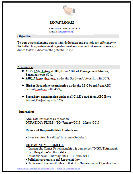 freshers resume for ngo
