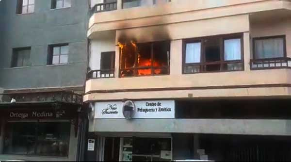 Incendio de una oficina plaza de La Feria